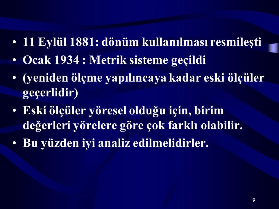 9 11 Eylül 1881: dönüm kullanılması resmileşti Ocak 1934 : Metrik sisteme geçildi (yeniden ölçme yapılıncaya kadar eski ölçüler geçerlidir) Eski ölçül