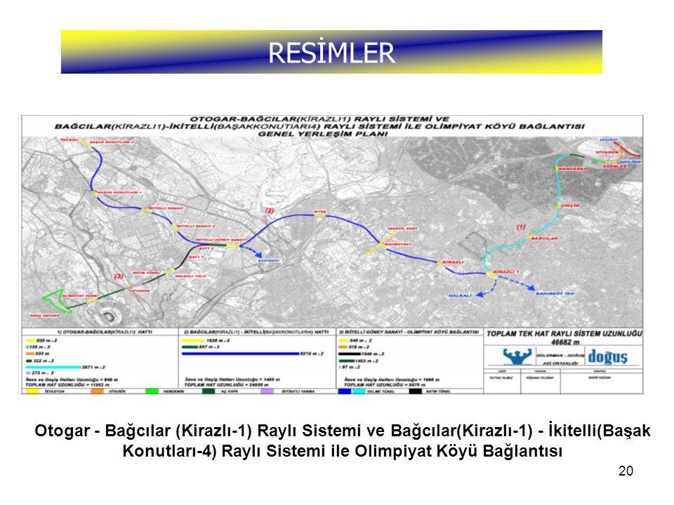 20 RESİMLER Otogar - Bağcılar (Kirazlı-1) Raylı Sistemi ve Bağcılar(Kirazlı-1) - İkitelli(Başak Konutları-4) Raylı Sistemi ile Olimpiyat Köyü Bağlantı