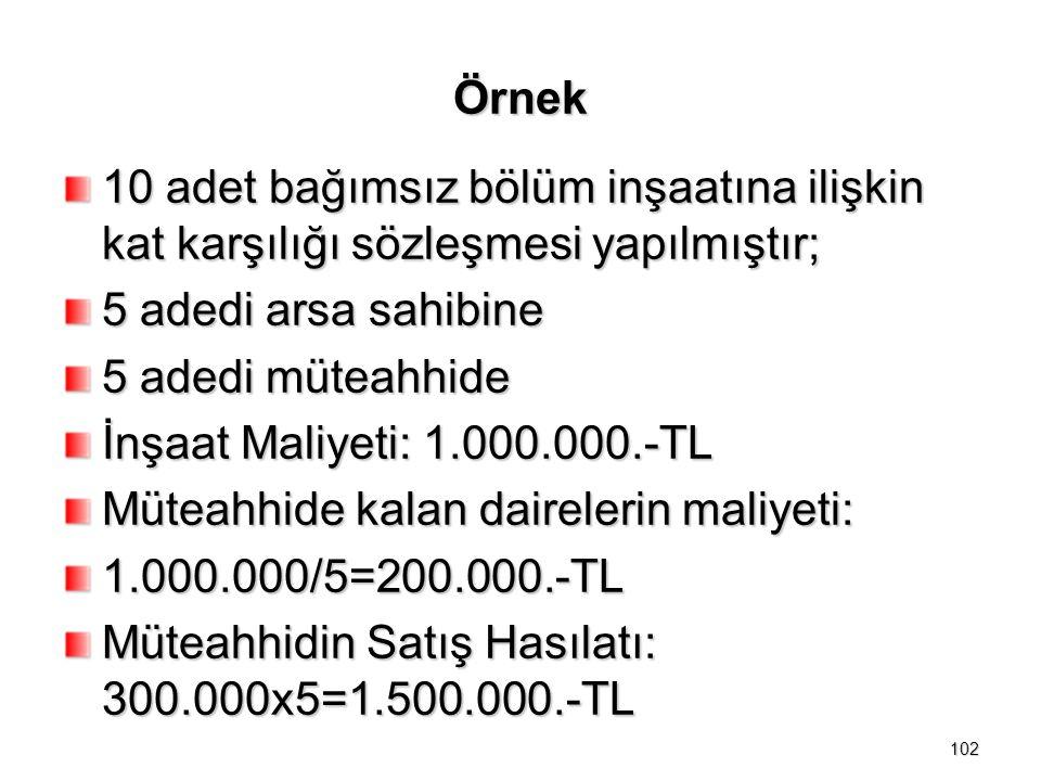 Örnek 10 adet bağımsız bölüm inşaatına ilişkin kat karşılığı sözleşmesi yapılmıştır; 5 adedi arsa sahibine 5 adedi müteahhide İnşaat Maliyeti: 1.000.000.-TL Müteahhide kalan dairelerin maliyeti: 1.000.000/5=200.000.-TL Müteahhidin Satış Hasılatı: 300.000x5=1.500.000.-TL 102