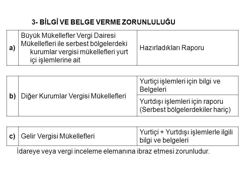 3- BİLGİ VE BELGE VERME ZORUNLULUĞU a) Büyük Mükellefler Vergi Dairesi Mükellefleri ile serbest bölgelerdeki kurumlar vergisi mükellefleri yurt içi işlemlerine ait Hazırladıkları Raporu b)Diğer Kurumlar Vergisi Mükellefleri Yurtiçi işlemleri için bilgi ve Belgeleri Yurtdışı işlemleri için raporu (Serbest bölgelerdekiler hariç) c)Gelir Vergisi Mükellefleri Yurtiçi + Yurtdışı işlemlerle ilgili bilgi ve belgeleri İdareye veya vergi inceleme elemanına ibraz etmesi zorunludur.