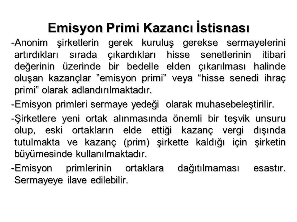 Menkul Kıymetler Yatırım Fon ve Ortaklıklarının Portföy İşletmeciliğinden Doğan Kazanç İstisnası Türkiye'de kurulu; -Menkul kıymetler yatırım fonları veya ortaklıklarının portföy işletmeciliğinden doğan kazançları -Menkul kıymetler yatırım fonları veya ortaklıklarının portföy işletmeciliğinden doğan kazançları -Altın ve kıymetli madenlere dayalı yatırım fonları veya ortaklıklarının portföy işletmeciliğinden doğan kazançları -Altın ve kıymetli madenlere dayalı yatırım fonları veya ortaklıklarının portföy işletmeciliğinden doğan kazançları -Girişim sermayesi yatırım fonları veya ortaklıklarının kazançları -Girişim sermayesi yatırım fonları veya ortaklıklarının kazançları -Gayrimenkul yatırım fonları veya ortaklıklarının kazançları -Gayrimenkul yatırım fonları veya ortaklıklarının kazançları -Emeklilik yatırım fonlarının kazançları -Emeklilik yatırım fonlarının kazançları -Konut finansman fonları ile varlık finansman fonlarının kazançları -Konut finansman fonları ile varlık finansman fonlarının kazançları Söz konusu fon ve ortaklıkların portföy yapısının en az %51'i devamlı olarak Türkiye'de kurulu borsalarda işlem görmesi gerekmektedir.