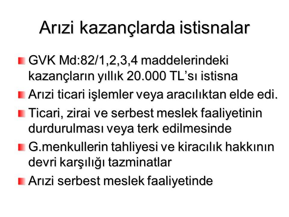 Arızi kazançlarda istisnalar GVK Md:82/1,2,3,4 maddelerindeki kazançların yıllık 20.000 TL'sı istisna Arızi ticari işlemler veya aracılıktan elde edi.