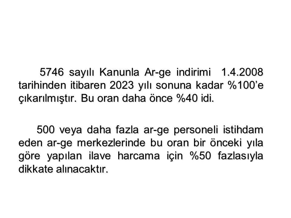 5746 sayılı Kanunla Ar-ge indirimi 1.4.2008 tarihinden itibaren 2023 yılı sonuna kadar %100'e çıkarılmıştır.