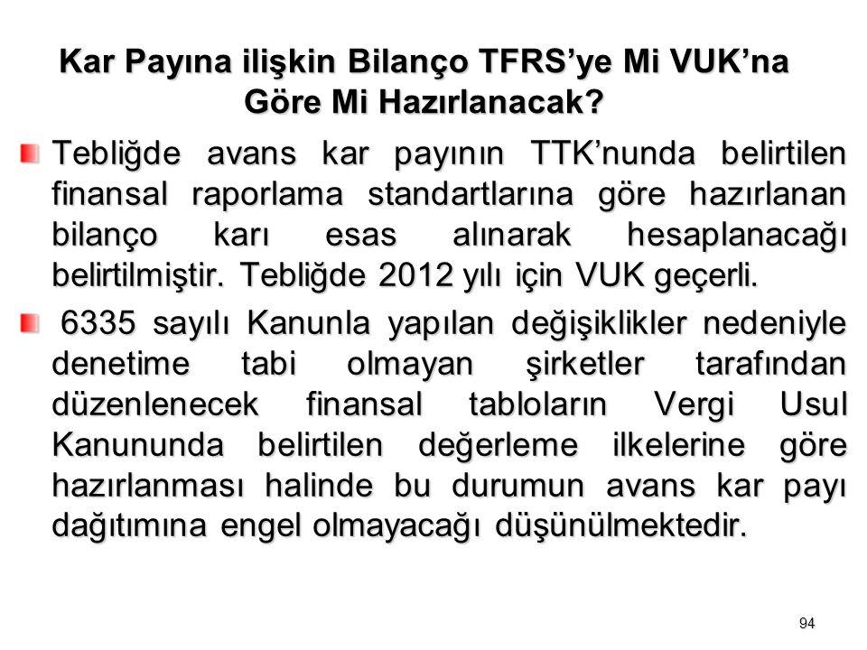 Kar Payına ilişkin Bilanço TFRS'ye Mi VUK'na Göre Mi Hazırlanacak.
