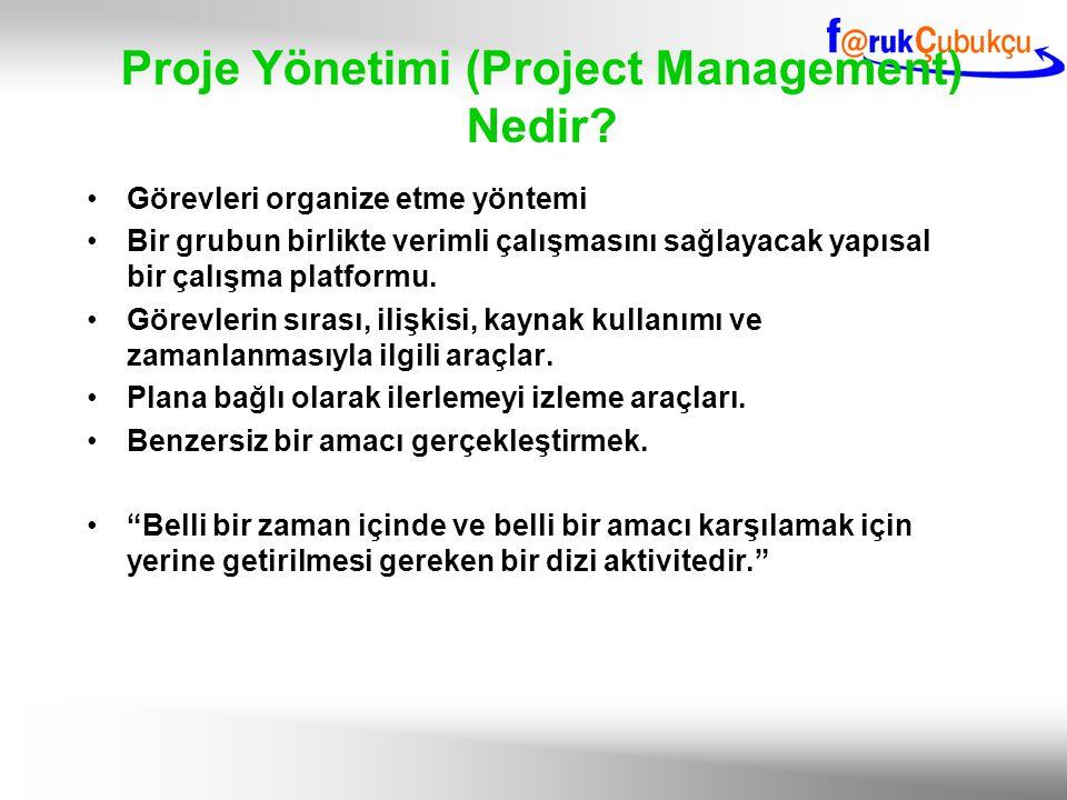 Proje Yönetimi (Project Management) Nedir? Görevleri organize etme yöntemi Bir grubun birlikte verimli çalışmasını sağlayacak yapısal bir çalışma plat