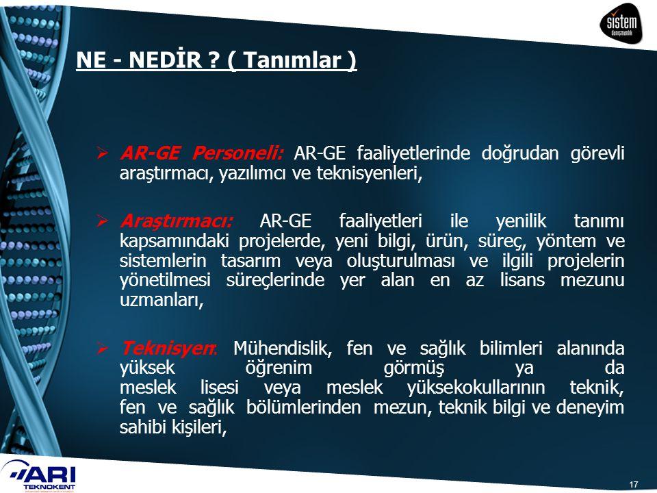NE - NEDİR ? ( Tanımlar )  AR-GE Personeli: AR-GE faaliyetlerinde doğrudan görevli araştırmacı, yazılımcı ve teknisyenleri,  Araştırmacı: AR-GE faal