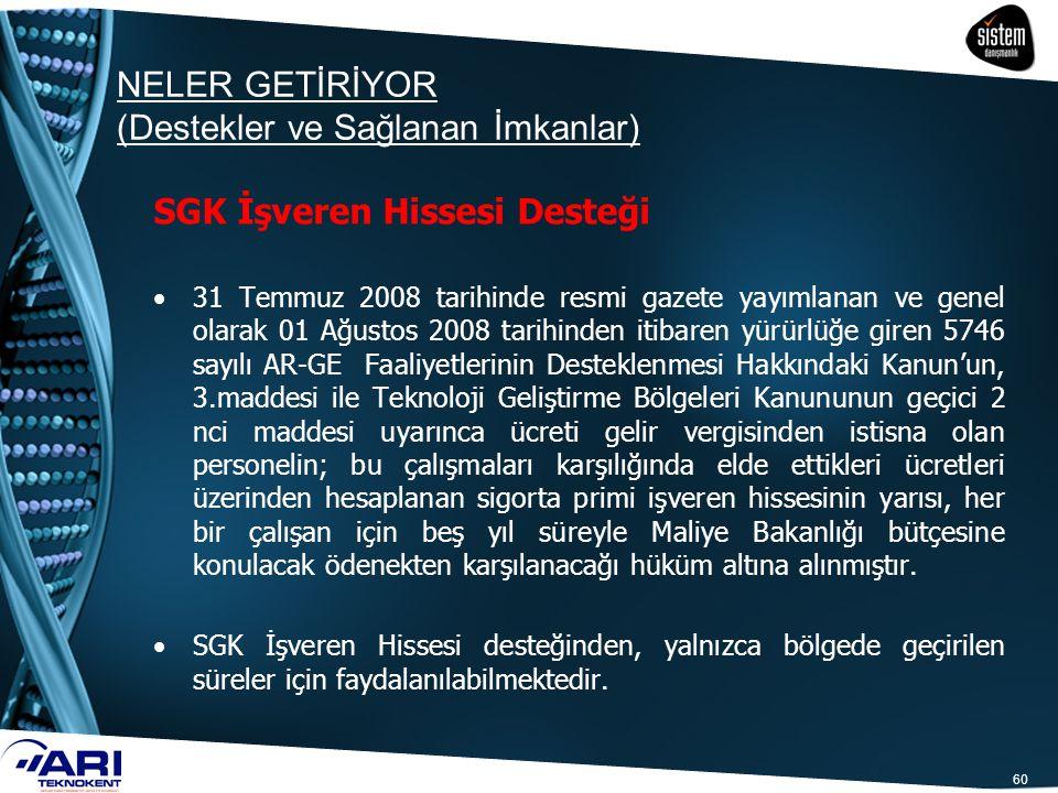 60 SGK İşveren Hissesi Desteği 31 Temmuz 2008 tarihinde resmi gazete yayımlanan ve genel olarak 01 Ağustos 2008 tarihinden itibaren yürürlüğe giren 57