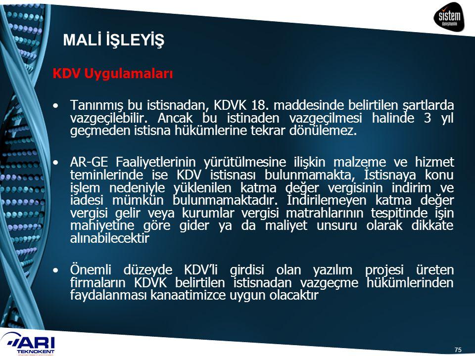 75 KDV Uygulamaları Tanınmış bu istisnadan, KDVK 18. maddesinde belirtilen şartlarda vazgeçilebilir. Ancak bu istinaden vazgeçilmesi halinde 3 yıl geç