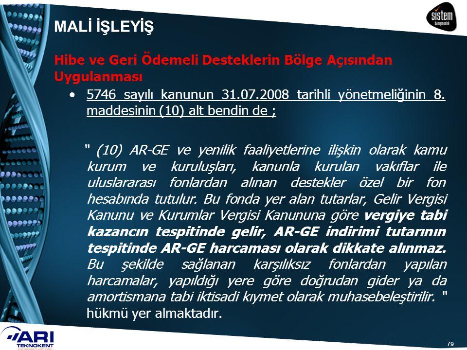 """79 5746 sayılı kanunun 31.07.2008 tarihli yönetmeliğinin 8. maddesinin (10) alt bendin de ; """" (10) AR-GE ve yenilik faaliyetlerine ilişkin olarak kamu"""