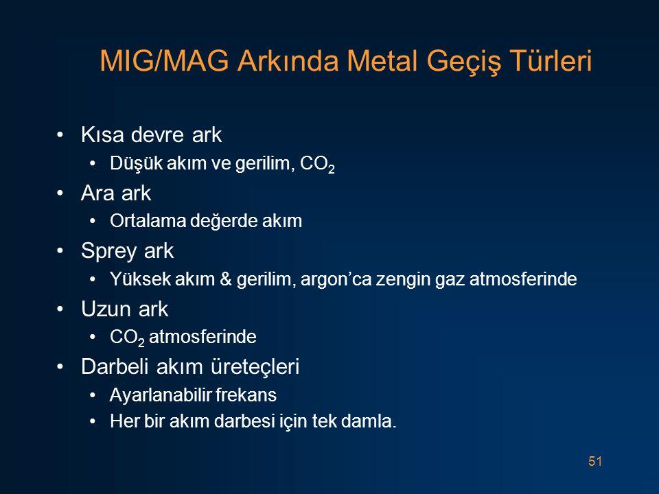 51 MIG/MAG Arkında Metal Geçiş Türleri Kısa devre ark Düşük akım ve gerilim, CO 2 Ara ark Ortalama değerde akım Sprey ark Yüksek akım & gerilim, argon'ca zengin gaz atmosferinde Uzun ark CO 2 atmosferinde Darbeli akım üreteçleri Ayarlanabilir frekans Her bir akım darbesi için tek damla.