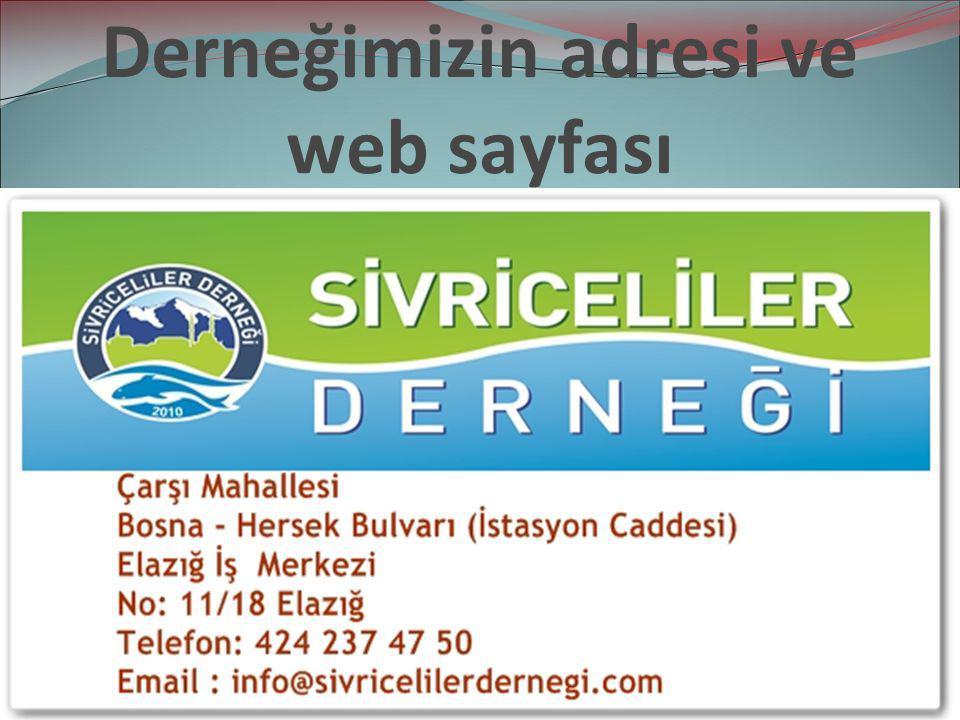 Derneğimizin adresi ve web sayfası