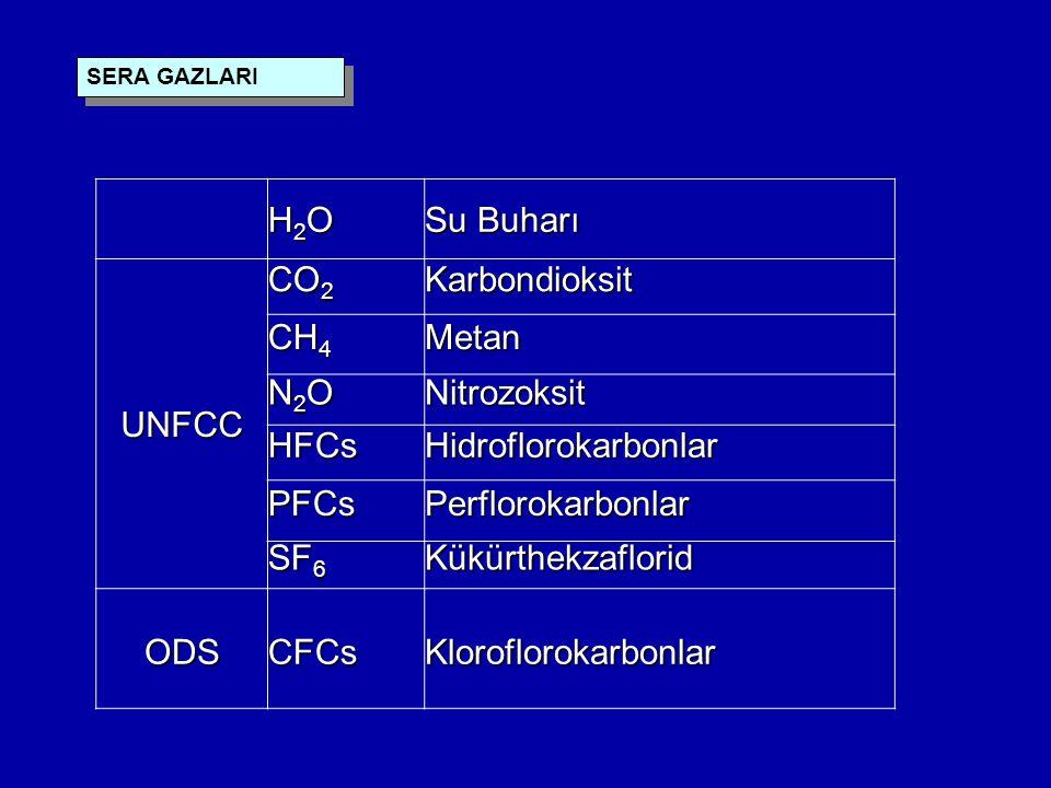 H2OH2OH2OH2O Su Buharı UNFCC CO 2 Karbondioksit CH 4 Metan N2ON2ON2ON2ONitrozoksit HFCsHidroflorokarbonlar PFCsPerflorokarbonlar SF 6 Kükürthekzaflorid ODSCFCsKloroflorokarbonlar SERA GAZLARI