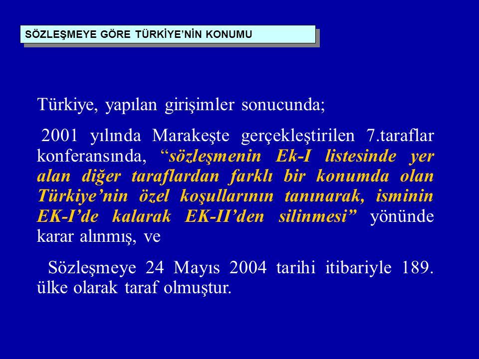 SÖZLEŞMEYE GÖRE TÜRKİYE'NİN KONUMU Türkiye, yapılan girişimler sonucunda; 2001 yılında Marakeşte gerçekleştirilen 7.taraflar konferansında, sözleşmenin Ek-I listesinde yer alan diğer taraflardan farklı bir konumda olan Türkiye'nin özel koşullarının tanınarak, isminin EK-I'de kalarak EK-II'den silinmesi yönünde karar alınmış, ve Sözleşmeye 24 Mayıs 2004 tarihi itibariyle 189.