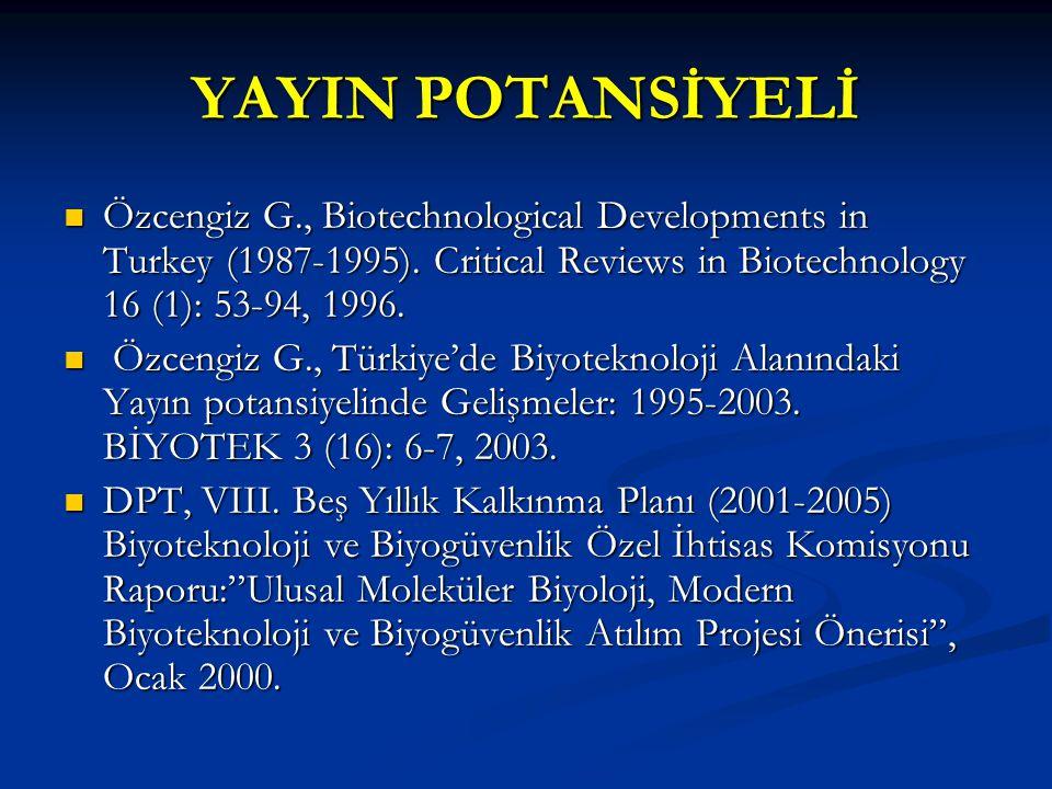 YAYIN POTANSİYELİ Özcengiz G., Biotechnological Developments in Turkey (1987-1995).