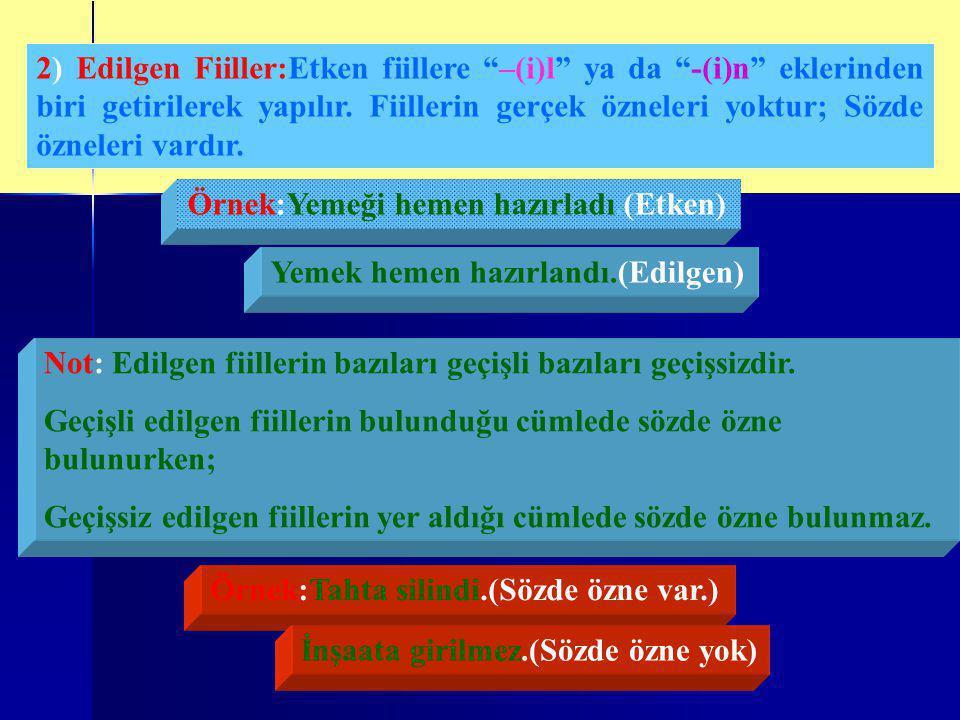 2) Edilgen Fiiller:Etken fiillere –(i)l ya da -(i)n eklerinden biri getirilerek yapılır.