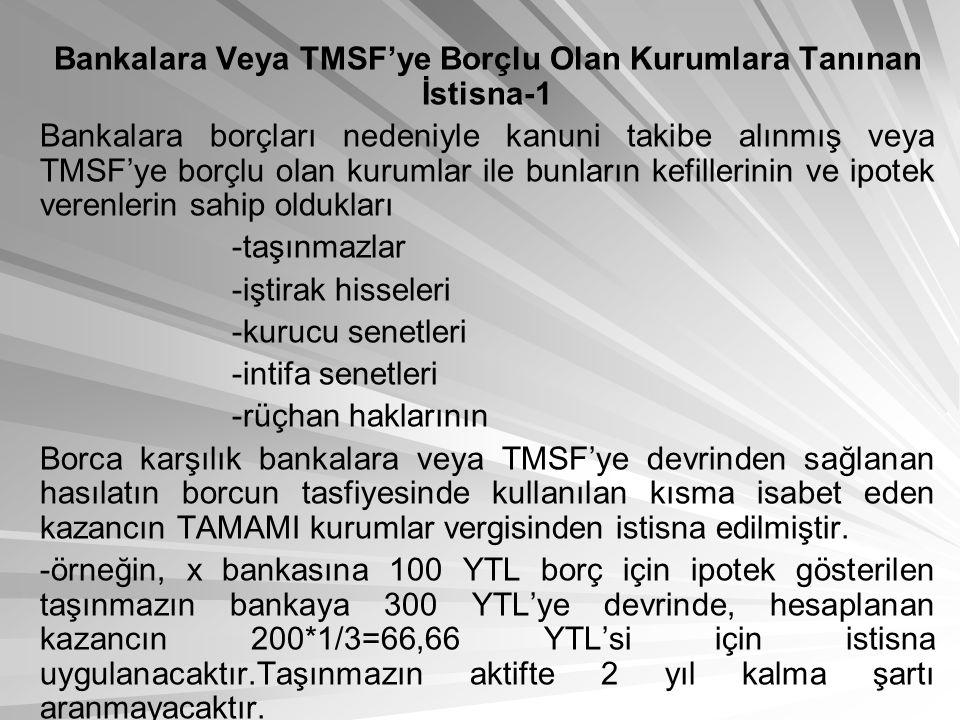 Bankalara Veya TMSF'ye Borçlu Olan Kurumlara Tanınan İstisna-1 Bankalara borçları nedeniyle kanuni takibe alınmış veya TMSF'ye borçlu olan kurumlar il
