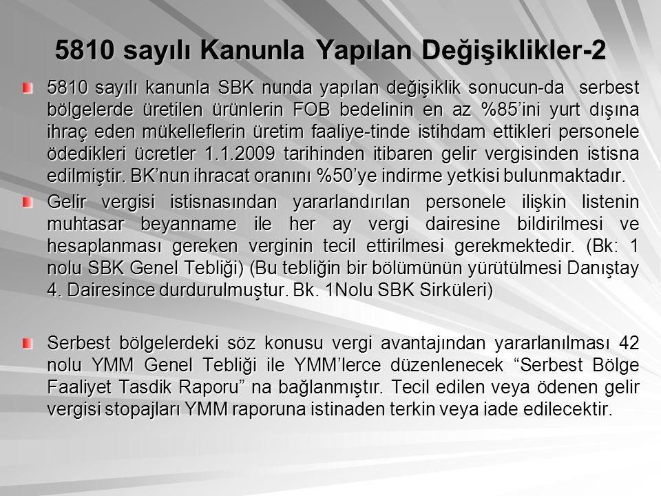 5810 sayılı Kanunla Yapılan Değişiklikler-2 5810 sayılı kanunla SBK nunda yapılan değişiklik sonucun-da serbest bölgelerde üretilen ürünlerin FOB bede