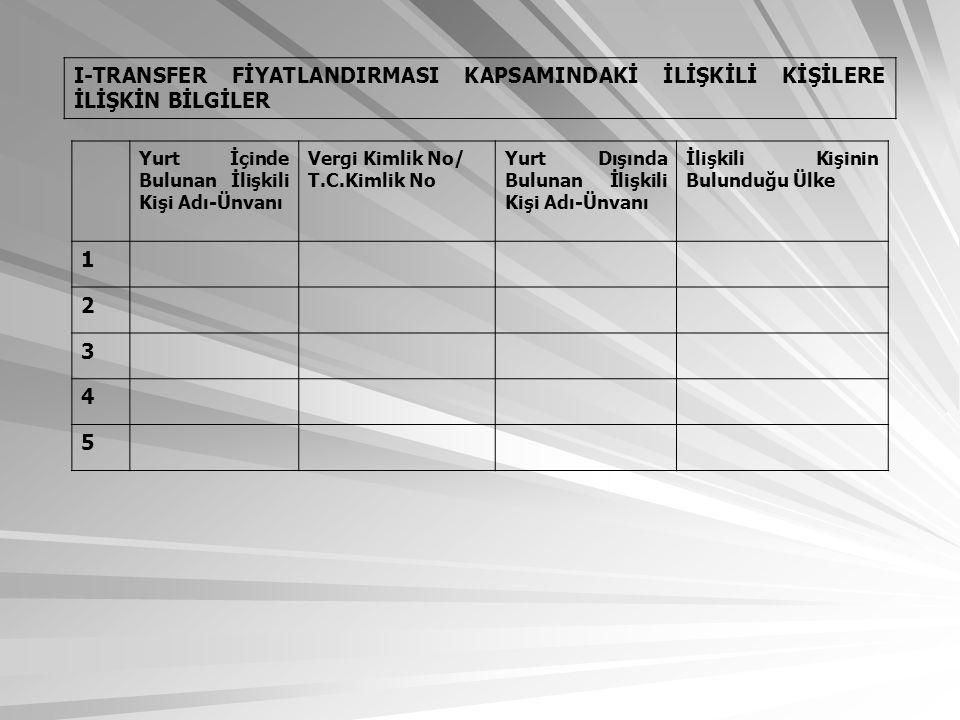 I-TRANSFER FİYATLANDIRMASI KAPSAMINDAKİ İLİŞKİLİ KİŞİLERE İLİŞKİN BİLGİLER Yurt İçinde Bulunan İlişkili Kişi Adı-Ünvanı Vergi Kimlik No/ T.C.Kimlik No