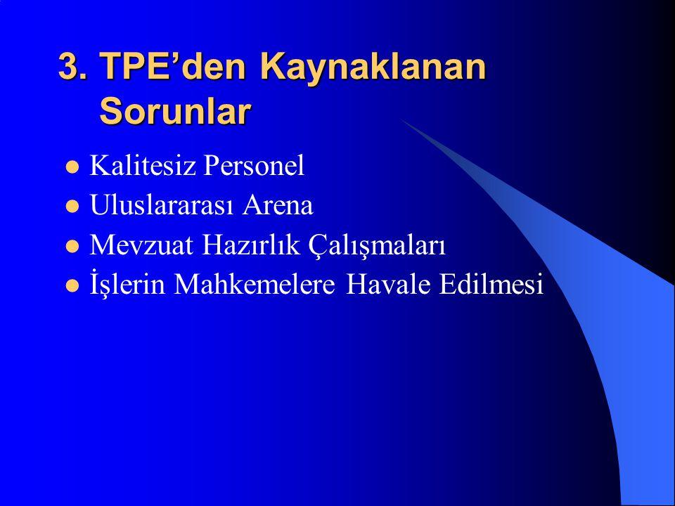 3. TPE'den Kaynaklanan Sorunlar Kalitesiz Personel Uluslararası Arena Mevzuat Hazırlık Çalışmaları İşlerin Mahkemelere Havale Edilmesi