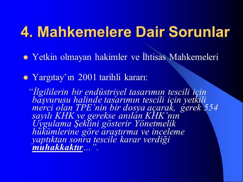 """4. Mahkemelere Dair Sorunlar Yetkin olmayan hakimler ve İhtisas Mahkemeleri Yargıtay'ın 2001 tarihli kararı: """"İlgililerin bir endüstriyel tasarımın te"""