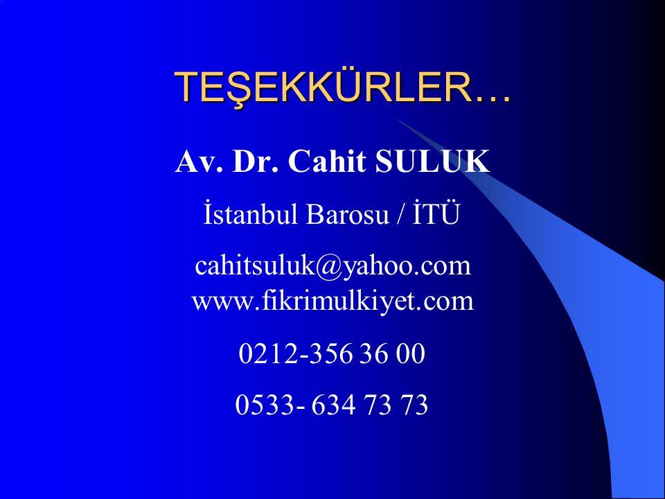TEŞEKKÜRLER… Av. Dr.