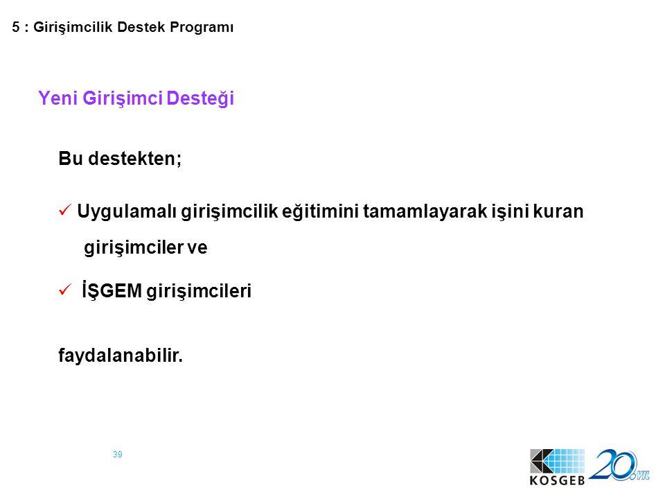 40 Yeni Girişimci Desteği Destek Unsurları DESTEK UNSURU ÜST LİMİT (TL) DESTEK ORANI (%) (1.