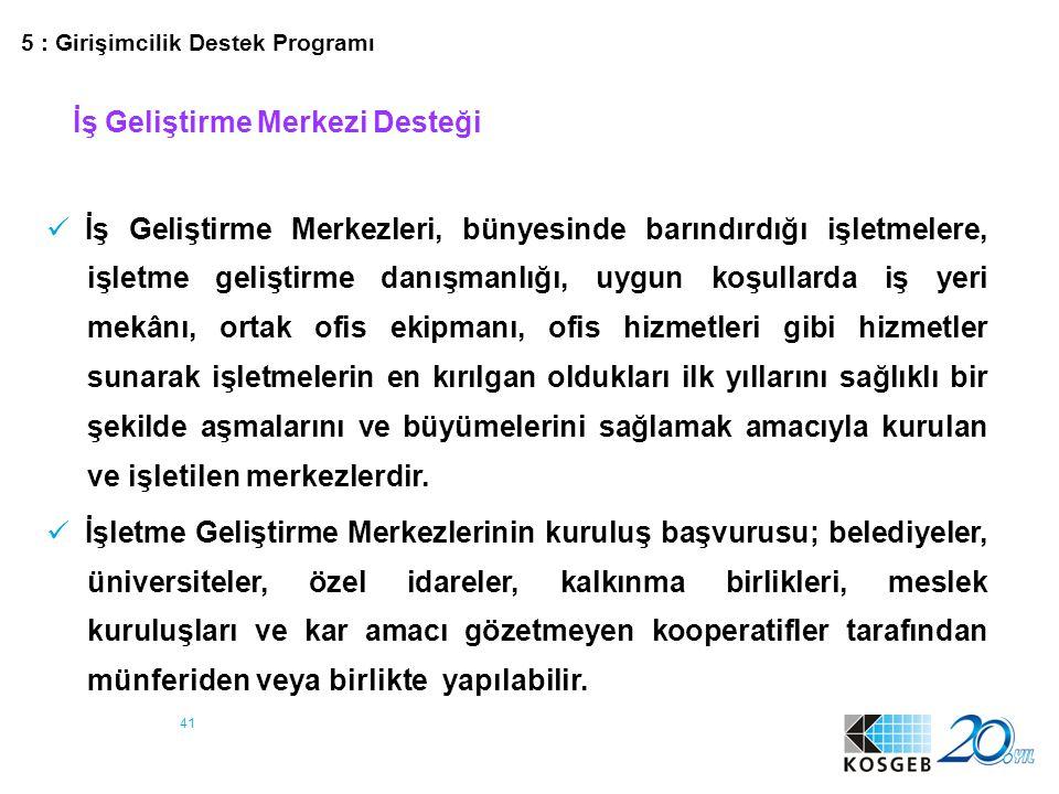 42 DESTEK UNSURU ÜST LİMİT (TL) DESTEK ORANI (%) (1.