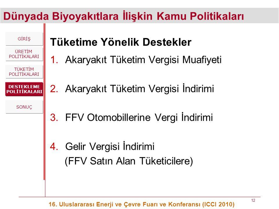 Dünyada Biyoyakıtlara İlişkin Kamu Politikaları 16. Uluslararası Enerji ve Çevre Fuarı ve Konferansı (ICCI 2010) 12 Tüketime Yönelik Destekler 1.Akary