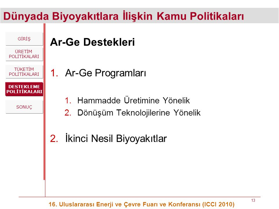 Dünyada Biyoyakıtlara İlişkin Kamu Politikaları 16. Uluslararası Enerji ve Çevre Fuarı ve Konferansı (ICCI 2010) 13 Ar-Ge Destekleri 1.Ar-Ge Programla