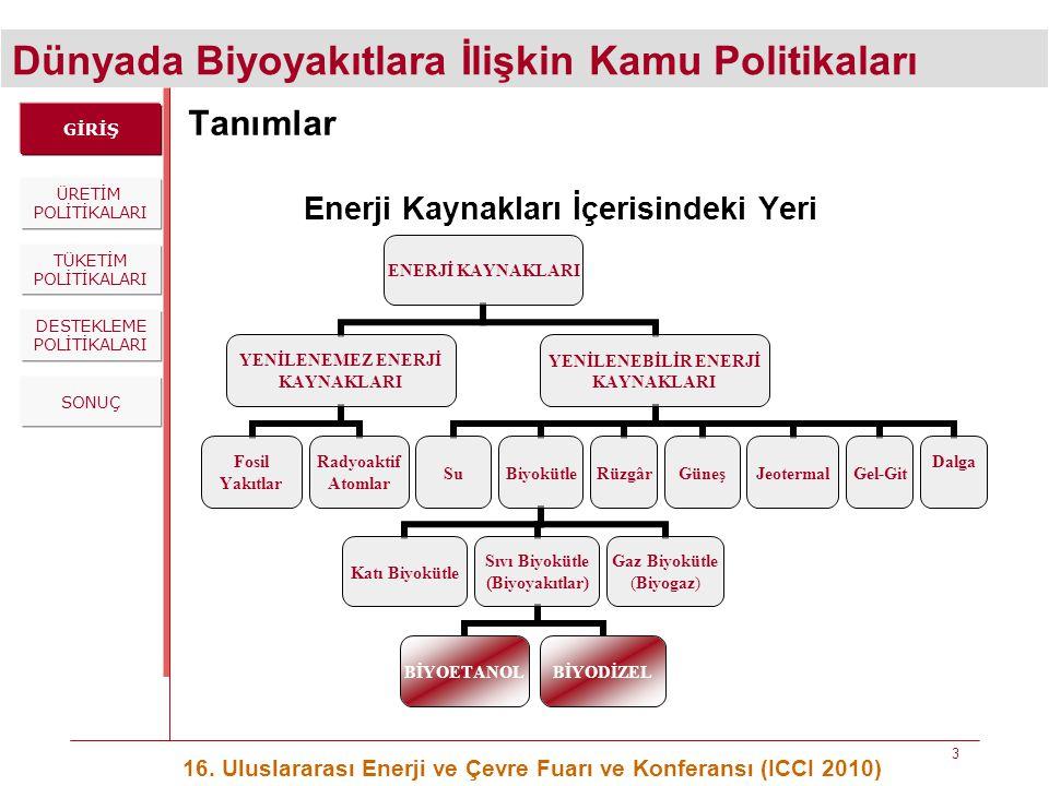 Dünyada Biyoyakıtlara İlişkin Kamu Politikaları 16. Uluslararası Enerji ve Çevre Fuarı ve Konferansı (ICCI 2010) 3 Tanımlar Enerji Kaynakları İçerisin