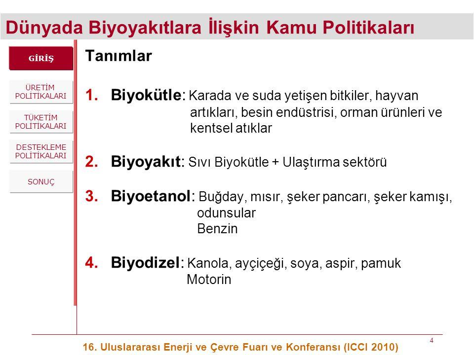 Dünyada Biyoyakıtlara İlişkin Kamu Politikaları 16. Uluslararası Enerji ve Çevre Fuarı ve Konferansı (ICCI 2010) 4 Tanımlar 1.Biyokütle: Karada ve sud