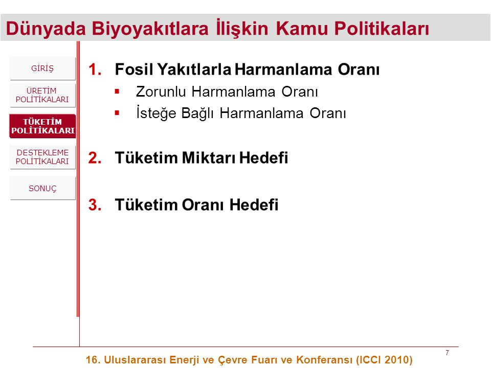Dünyada Biyoyakıtlara İlişkin Kamu Politikaları 16. Uluslararası Enerji ve Çevre Fuarı ve Konferansı (ICCI 2010) 7 ÜRETİM POLİTİKALARI TÜKETİM POLİTİK