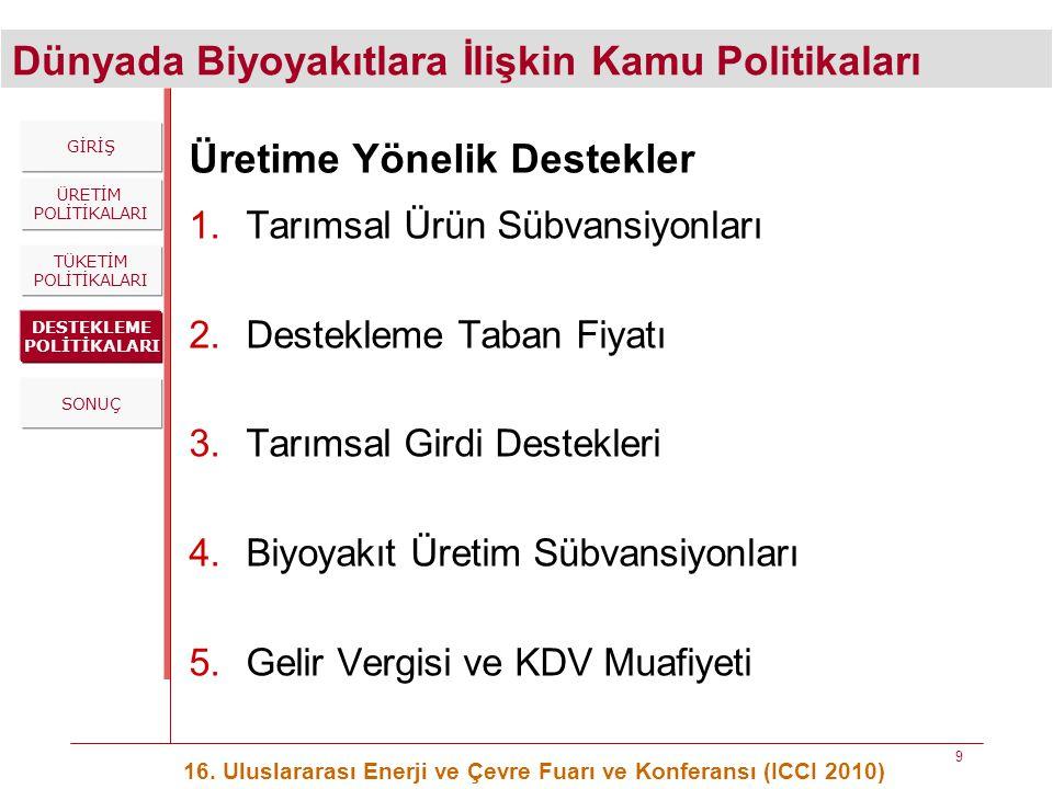 Dünyada Biyoyakıtlara İlişkin Kamu Politikaları 16. Uluslararası Enerji ve Çevre Fuarı ve Konferansı (ICCI 2010) 9 Üretime Yönelik Destekler 1.Tarımsa