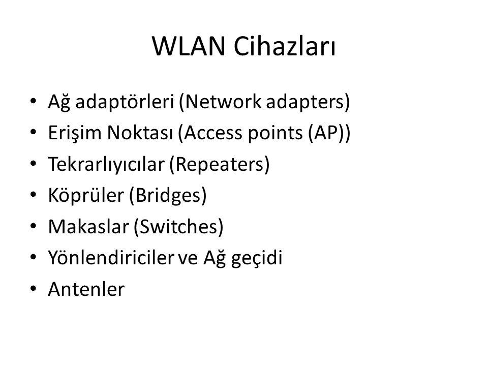 WLAN Cihazları Ağ adaptörleri (Network adapters) Erişim Noktası (Access points (AP)) Tekrarlıyıcılar (Repeaters) Köprüler (Bridges) Makaslar (Switches