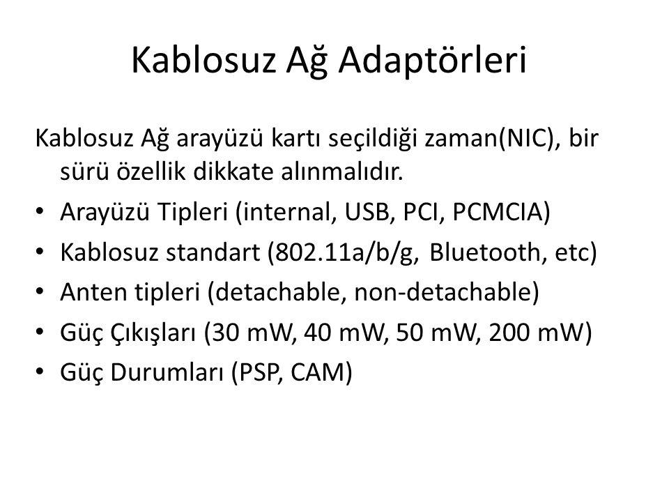 Kablosuz Ağ Adaptörleri Kablosuz Ağ arayüzü kartı seçildiği zaman(NIC), bir sürü özellik dikkate alınmalıdır. Arayüzü Tipleri (internal, USB, PCI, PCM