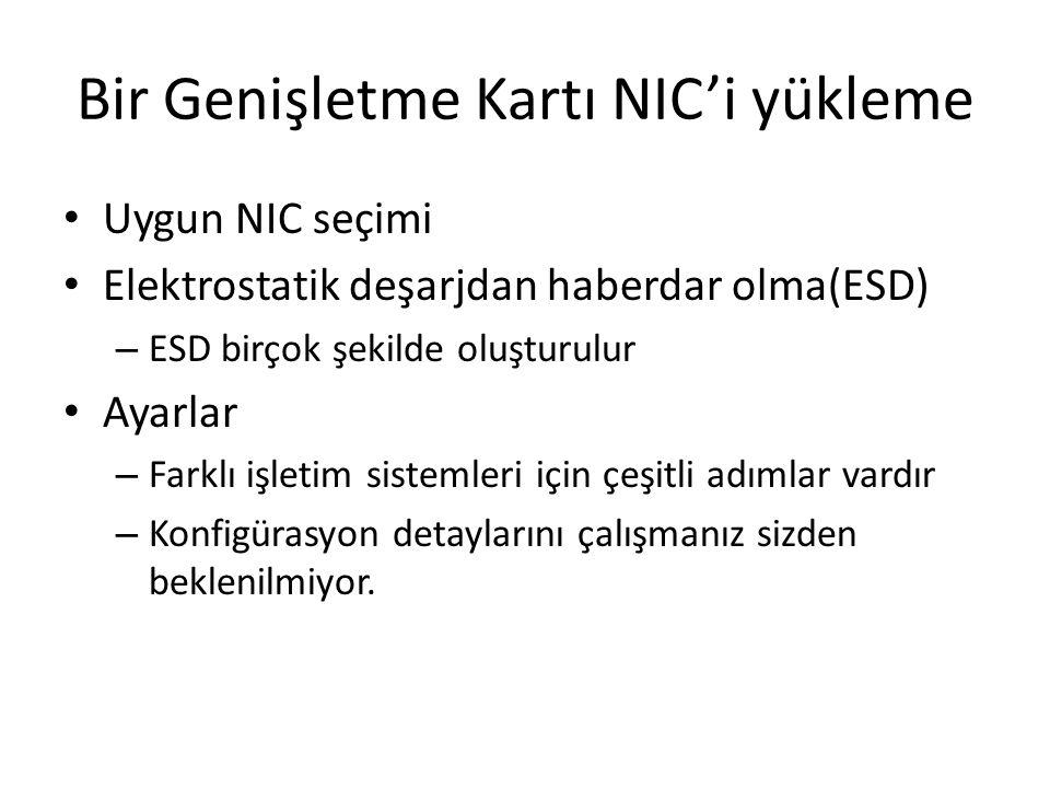 Bir Genişletme Kartı NIC'i yükleme Uygun NIC seçimi Elektrostatik deşarjdan haberdar olma(ESD) – ESD birçok şekilde oluşturulur Ayarlar – Farklı işlet