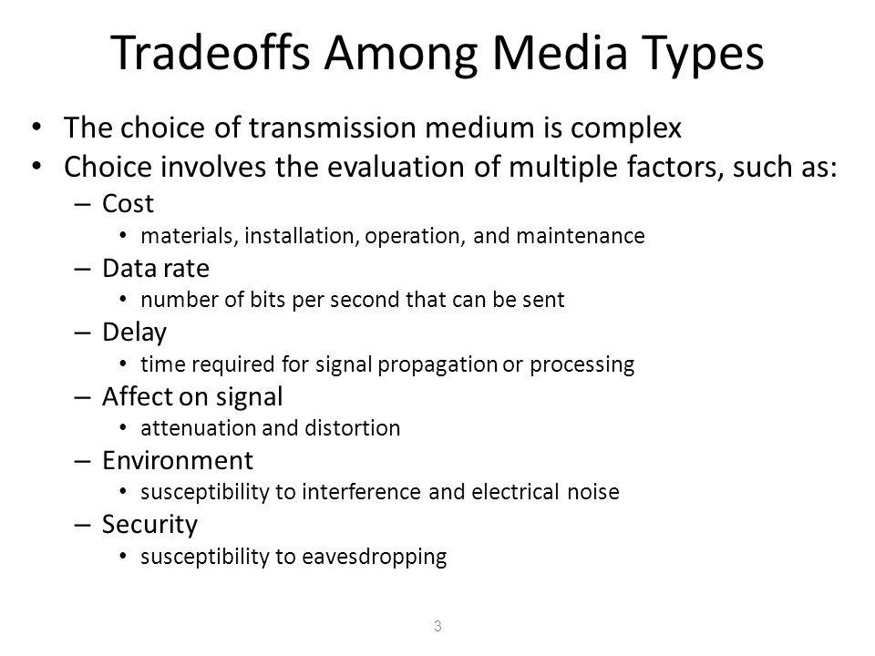 4 Medya Tipleri Arasındaki denge (tradeoff) İletim ortam( transmission medium ) seçimi zor bir işlemdir Seçim birden çok faktörlerin değerlendirilmesi ni içerir, mesela : –Maliyet ( Cost ) malzemeler, kurulum, çalıştırma ve bakım – Veri hızı ( Data rate ) Saniye başı gönderilebilen bit sayısı –Gecikme ( Delay ) sinyal yayılımı veya işleme için gerekli zaman –Sinyal etkisi ( Affect on signal ) zayıflama ve bozulma –Çevre ( Environment ) Karışıma (interference) duyarlılık ve elektriksel gürültü – Güvenlik (Security) Gizli dinleme için duyarlılık
