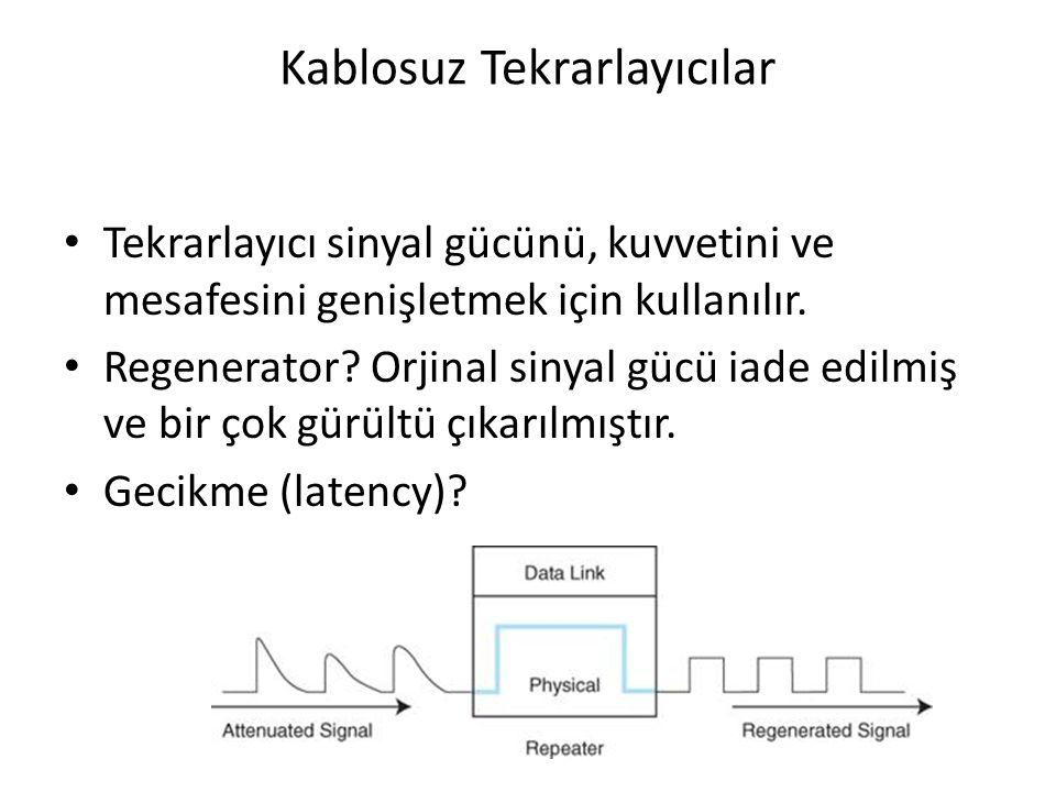 Kablosuz Tekrarlayıcılar Tekrarlayıcı sinyal gücünü, kuvvetini ve mesafesini genişletmek için kullanılır. Regenerator? Orjinal sinyal gücü iade edilmi