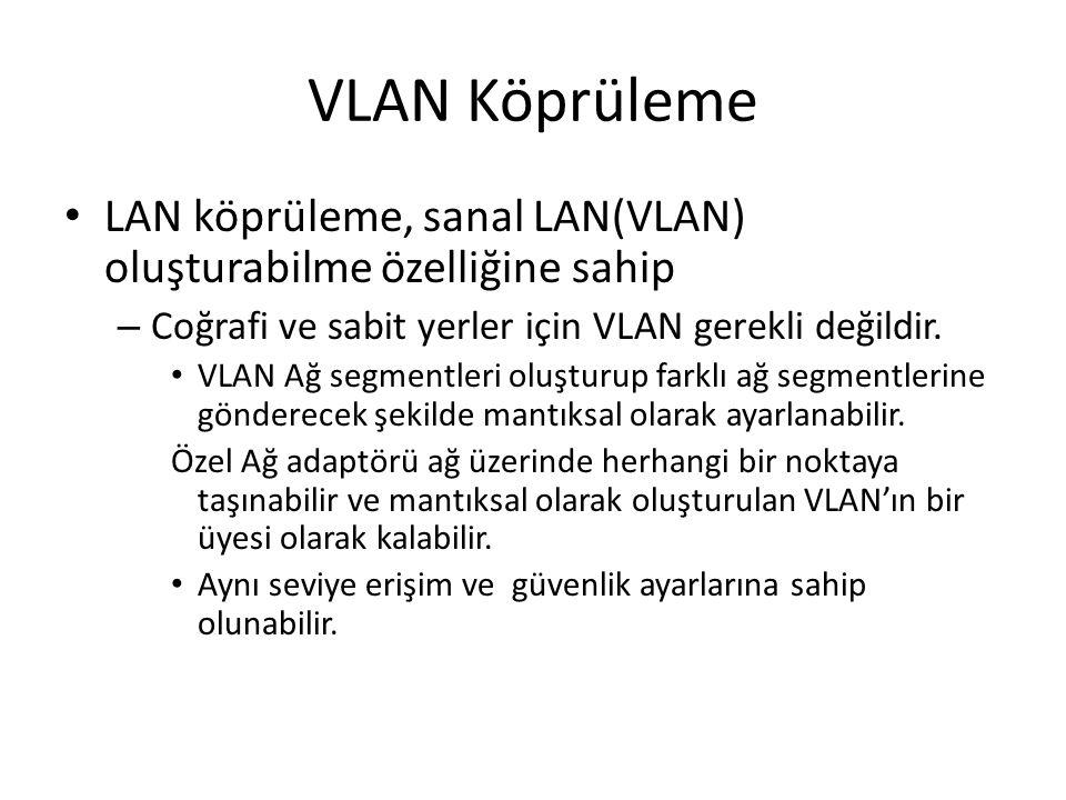 VLAN Köprüleme LAN köprüleme, sanal LAN(VLAN) oluşturabilme özelliğine sahip – Coğrafi ve sabit yerler için VLAN gerekli değildir. VLAN Ağ segmentleri