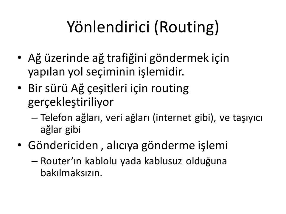 Yönlendirici (Routing) Ağ üzerinde ağ trafiğini göndermek için yapılan yol seçiminin işlemidir. Bir sürü Ağ çeşitleri için routing gerçekleştiriliyor