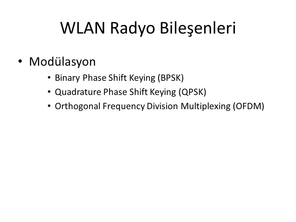 WLAN Radyo Bileşenleri Modülasyon Binary Phase Shift Keying (BPSK) Quadrature Phase Shift Keying (QPSK) Orthogonal Frequency Division Multiplexing (OF