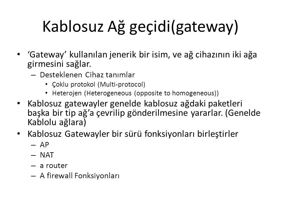 Kablosuz Ağ geçidi(gateway) 'Gateway' kullanılan jenerik bir isim, ve ağ cihazının iki ağa girmesini sağlar. – Desteklenen Cihaz tanımlar Çoklu protok