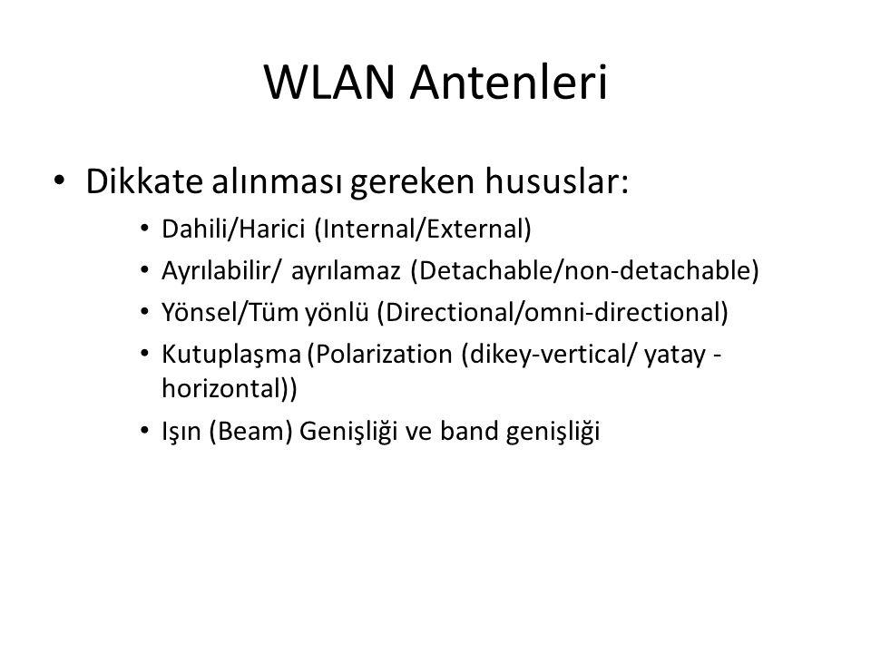 WLAN Antenleri Dikkate alınması gereken hususlar: Dahili/Harici (Internal/External) Ayrılabilir/ ayrılamaz (Detachable/non-detachable) Yönsel/Tüm yönl