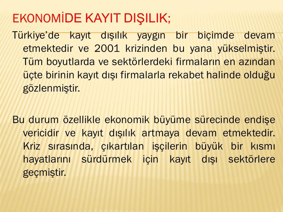 EKONOMİ DE KAYIT DIŞILIK ; Türkiye'de kayıt dışılık yaygın bir biçimde devam etmektedir ve 2001 krizinden bu yana yükselmiştir.