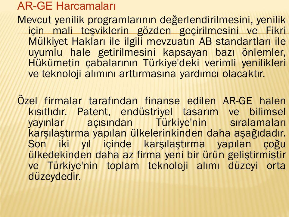 AR-GE Harcamaları Mevcut yenilik programlarının değerlendirilmesini, yenilik için mali teşviklerin gözden geçirilmesini ve Fikri Mülkiyet Hakları ile ilgili mevzuatın AB standartları ile uyumlu hale getirilmesini kapsayan bazı önlemler, Hükümetin çabalarının Türkiye deki verimli yenilikleri ve teknoloji alımını arttırmasına yardımcı olacaktır.