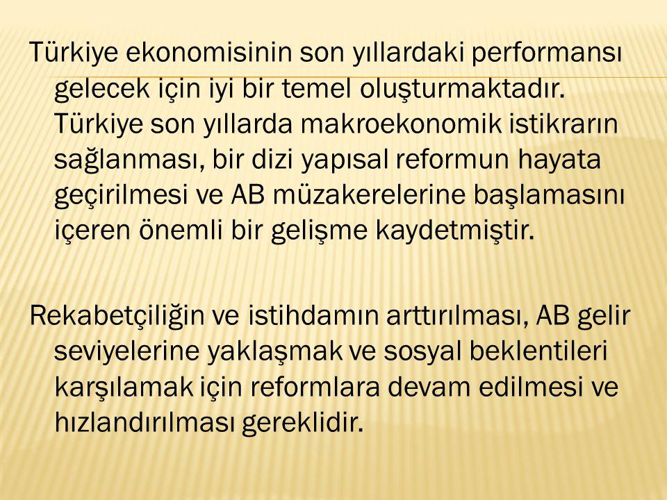 Türkiye ekonomisinin son yıllardaki performansı gelecek için iyi bir temel oluşturmaktadır.