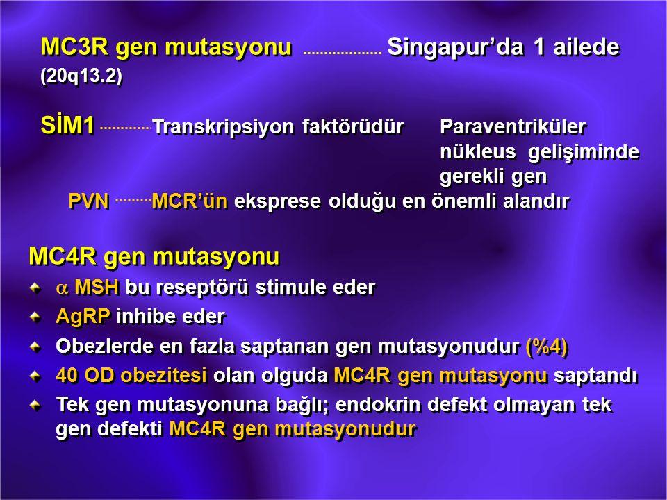 MC3R gen mutasyonuSingapur'da 1 ailede (20q13.2) MC3R gen mutasyonuSingapur'da 1 ailede (20q13.2) SİM1 Transkripsiyon faktörüdürParaventriküler nükleu
