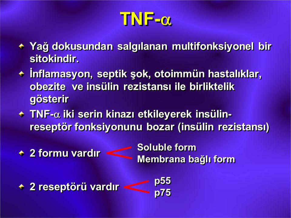 TNF-  Yağ dokusundan salgılanan multifonksiyonel bir sitokindir. İnflamasyon, septik şok, otoimmün hastalıklar, obezite ve insülin rezistansı ile bir
