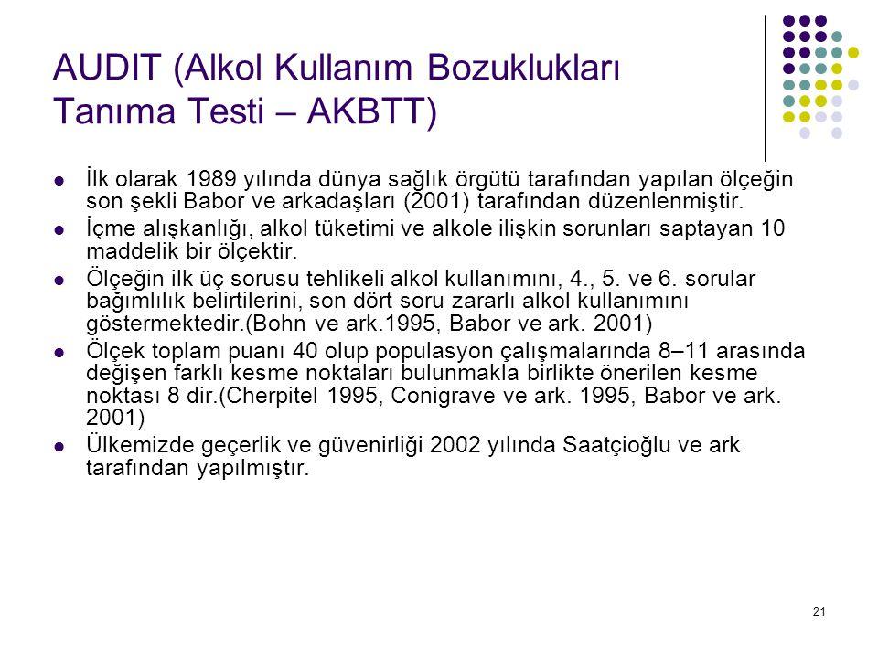 21 AUDIT (Alkol Kullanım Bozuklukları Tanıma Testi – AKBTT) İlk olarak 1989 yılında dünya sağlık örgütü tarafından yapılan ölçeğin son şekli Babor ve