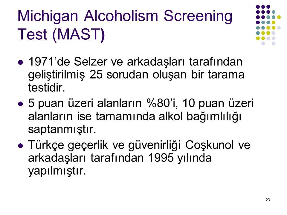 23 Michigan Alcoholism Screening Test (MAST) 1971'de Selzer ve arkadaşları tarafından geliştirilmiş 25 sorudan oluşan bir tarama testidir. 5 puan üzer